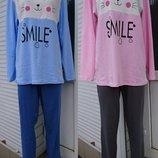 Пижама со штанами, интерлок, Кофта с длинным рукавом и Штаны, Хлопок, р.38-40-42-44-46-48-50-52-54