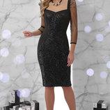 Шикарное вечернее платье ткань креп-дайвинг с пайетками и евро-сеткой Памела Д/р скл.2