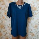 Красивая,нарядная блуза. Бирюзового цвета. На бирке- 16 р-р 50 .