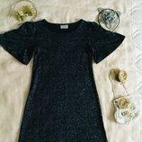 NEXT. Блестящее платье. Модное трапеция. Состояние нового. Шикарное напыление. Рукав три четверти.