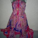 one size Papaya Beach яркая розовая пляжная туника платье парео новая с углами,новая