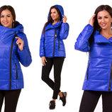 Женская тёплая куртка на синтепоне 1130 Плащёвка Косуха Капюшон в расцветках.