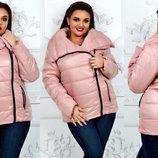 Женская тёплая куртка на синтепоне в больших размерах 1126-1 Плащёвка Косуха в расцветках.