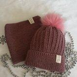 Комплект вязаний шапка снуд
