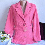 Брендовый розовый утепленный плащ тренч с поясом и карманами marks & spencer синтепон