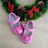 Туфли для девочки Clibee 20, 21, 22, 23, 24, 25 р Малиновый D-39- pink Нарядные туфли, украшенные