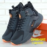 Зимние мужские кроссовки ботинки Nike Huarache X Acronym City Winter Black Orange