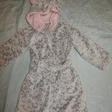 халат детский плюшевый с капюшоном на девочку 3-4 года