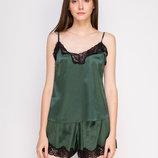Комплект Serenade 2129 зеленый с черным кружевом набор майка и шорты