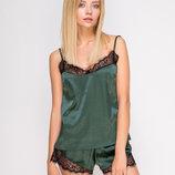 Комплект Serenade 2130 зеленый с черным кружевом набор майка и шорты