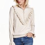 Уютный джемпер свитер с оборкой воланом и молнией от H&M Conscious