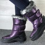 Новая Модель Сезона Дутики Сапоги Зима Мех Фиолет Серебро