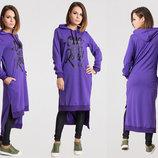Стильное длинное платье-туника до больших размеров 2-672 One FOR THE Road в расцветках