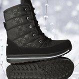 Ботинки дутики женские зимние черные на шнурках