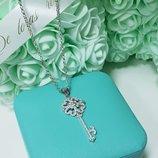 Подвеска кулон цепочка ключик серебро фианиты