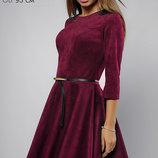 Шикарное замшевое платье сочного цвета с юбкой полусолнце арт.3072 скл.33