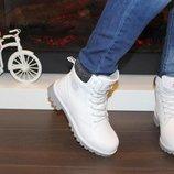 Ботинки зимние белые на шнурках Турция
