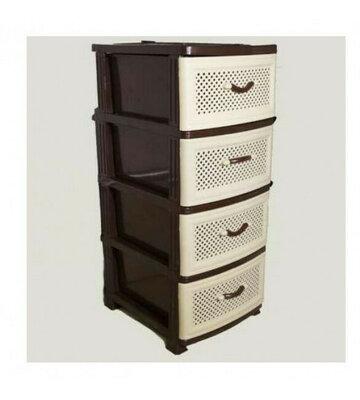 Комод тумба, сетка, 4 ящика, бежево-коричнвый. Пластиковая мебель