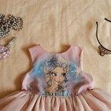 DISNEY. Платье Эльзы. Супер - пышное. Нежный кремовый цвет. Факир с блестками. Красиво переливается.