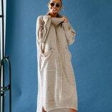 женское вязаное платье оверсайз NICE в разных цветах ож 9055