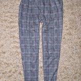 Укороченные брюки в принт гусиная лапка New Look