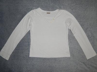 Белая трикотажная футболка Cherokee с мысиком и длинным рукавом. На девочку 9-10 лет. Рост 134-140 с