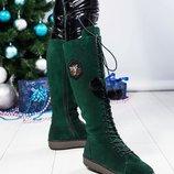 Стильные зимние сапоги со шнуровкой