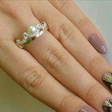 Срібна корона з пeрлинкою, серебряная корона с жемчугом. Новинка золото и жeмчуг