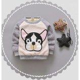 Кофта для мальчика утепленная, кофта с собачкой р.86-90