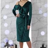 Вечернее изумрудное платье Валерия с запахом