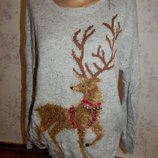 свитер новогодний с оленем рL