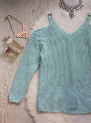 Голубой бирюзовый свитер с открытыми плечами кофта с вырезами вязаная голубая теплая батал George
