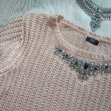 Розовый вязаный свитер с воротником в стразах и камнях украшениях батал большой кофта F&F