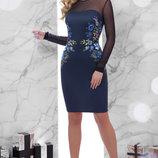Шикарное платье ткань французский трикотаж вышивка платье Донна2 д/р рукав сетка скл.2