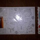 Набор для творчества Новогодние открытки ELC раскраска с карандашами