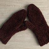 Варежки рукавицы вязаные ручная работа коричневые велюр новые handmade теплые зима