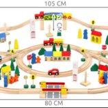 Детская деревянная дорога, железная дорога, 100 элементов. Польша. Na.