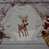 XL Фирменный теплый свитер джемпер травка с новогодним принтом олененок