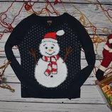XS Фирменный теплый свитер джемпер травка с новогодним принтом снеговик