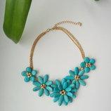 Колье ожерелье цветы кулон бирюза на новый год