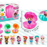 Куколка LOL Surprise в ракушке. 4 разноцветных ракушки