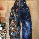 Детские джинсы кляксы брызги нарядные праздничные стильные