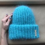 В Наличии мятная Пушистая шапка такори мохеровая тёплая мохер стильная мягкая под заказ любой цвет
