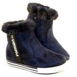 Зимние синие ботинки с опушкой