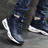 Nike 95 кроссовки мужские зимние темно синие с белым 6970