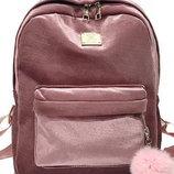 Рюкзак розовый бархатный однотонный велюровый с помпоном вместительный