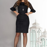 Изумительное платье срукавами из гипюра и шнуровкой по спинке 44-52р