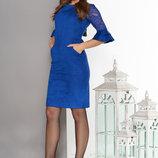 Эффектное платье срукавами из гипюра и шнуровкой по спинке 44-52р