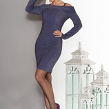 Нарядное платье с вырезом анжелика и модельным отворотом 44-50р