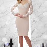 Шикарное вечернее платье Патриция с сеткой полоской ткань креп-дайвинг Д/р скл.2